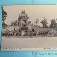 Fotografía antigua: FOTOGRAFIA IMPRESA HAUSER Y MENET 1896 - 282 BARCELONA - PARQUE - LA CASCADA. Lote 30162836
