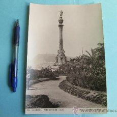 Fotografía antigua: FOTOGRAFIA IMPRESA HAUSER Y MENET 1895 - 270 BARCELONA - MONUMENTO DE COLON. Lote 30162867