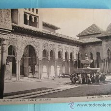 Fotografía antigua: FOTOGRAFIA IMPRESA HAUSER Y MENET 1896 - 5 GRANADA - ALHAMBRA - PATIO DE LOS LEONES. Lote 30165566
