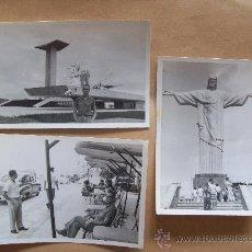 Fotografía antigua: 3 FOTOS RIO DE JANEIRO, BRASIL. CRISTO REDENTOR, BLANCO Y NEGRO.. Lote 32563869