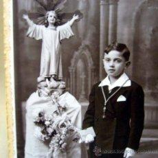 FOTOGRAFIA ANTIGUA, NIÑO COMUNION, ESTUDIO FOTOGRAFICO MONTORO, SAGUNTO, 1930s