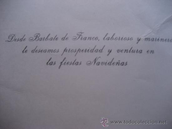 Fotografía antigua: Barbate de Franco. Cadiz. Foto aerea y felicitacion.17 x 13 cms. - Foto 2 - 34007567