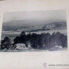Fotografía antigua: FOTOTIPIA PONTEVEDRA VISTA GENERAL HAUSER Y MENET AÑO 1892 SIGLO XIX. Lote 35258545
