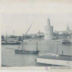 Fotografía antigua: LAMINA FOTOGRAFICA ANTIGUA. SEVILLA. TORRE DEL ORO Y RIO GUADALQUIVIR (1890-1900 APROX.) LAMFOTO-005. Lote 36393568