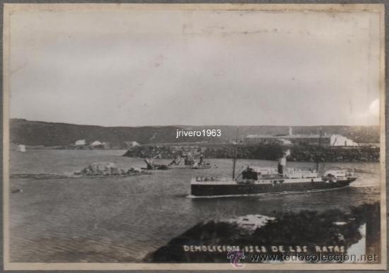 MAHON, MENORCA,1934,DEMOLICION ISLA DE LAS RATAS,155X106MM, RARISIMA (Fotografía Antigua - Fotomecánica)