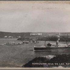 Fotografía antigua: MAHON, MENORCA,1934,DEMOLICION ISLA DE LAS RATAS,155X106MM, RARISIMA. Lote 38490375