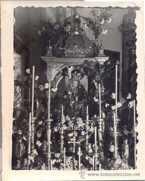 ALCALA DE LOS GAZULES,1949,VIRGEN DE LOS SANTOS, EN ROGATIVA EN LA PARROQUIA DEL PUEBLO,75X60MM (Fotografía Antigua - Fotomecánica)