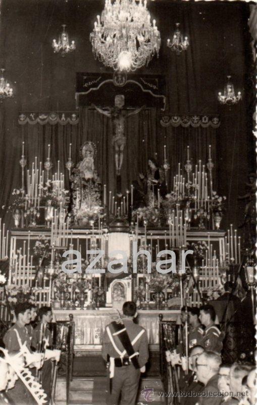 CADIZ, AÑOS 60, MILITARES ANTE EL CRISTO DE LA PIEDAD, FOT.JUMAN, ESCUDO HERMANDAD REVERSO, MAGNIFI (Fotografía Antigua - Fotomecánica)