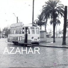 Fotografía antigua: SEVILLA,1959, TRANVIA EN NERVION, LINEA PUERTA DE LA CARNE-NERVION,140X90MM. Lote 42175531