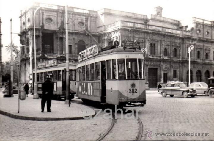 SEVILLA,1959, TRANVIA EN PLAZA SAN FRANCISCO, LINEA MACARENA - AVDA.LA FALANGE,140X90MM (Fotografía Antigua - Fotomecánica)