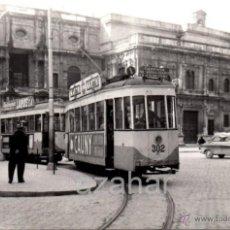 Fotografía antigua: SEVILLA,1959, TRANVIA EN PLAZA SAN FRANCISCO, LINEA MACARENA - AVDA.LA FALANGE,140X90MM. Lote 42232615