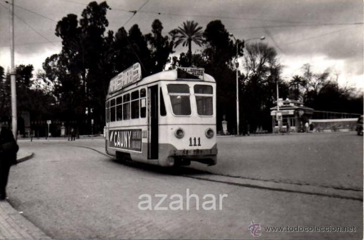 SEVILLA,1959, TRANVIA EN PRADO SAN SEBASTIAN, LINEA PRADO - PUERTA LA CARNE,140X90MM (Fotografía Antigua - Fotomecánica)