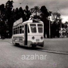 Fotografía antigua: SEVILLA,1959, TRANVIA EN PRADO SAN SEBASTIAN, LINEA PRADO - PUERTA LA CARNE,140X90MM. Lote 42232628