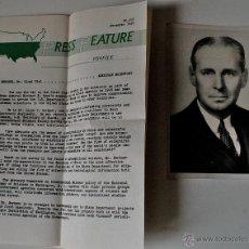 Fotografía antigua: FOTOGRAFÍA+DATOS BIOGRAFICOS EN INGLES (PRESS FEATURE) CIENTIFICO LLOYD VIEL, 1949 . Lote 42516537