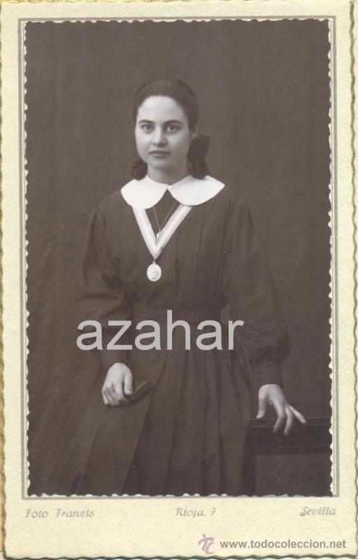 SEVILLA,1942, PRECIOSA FOTOGRAFIA DE UNA POSTULANTA, FOT.FRANZIS,86X136MM (Fotografía Antigua - Fotomecánica)