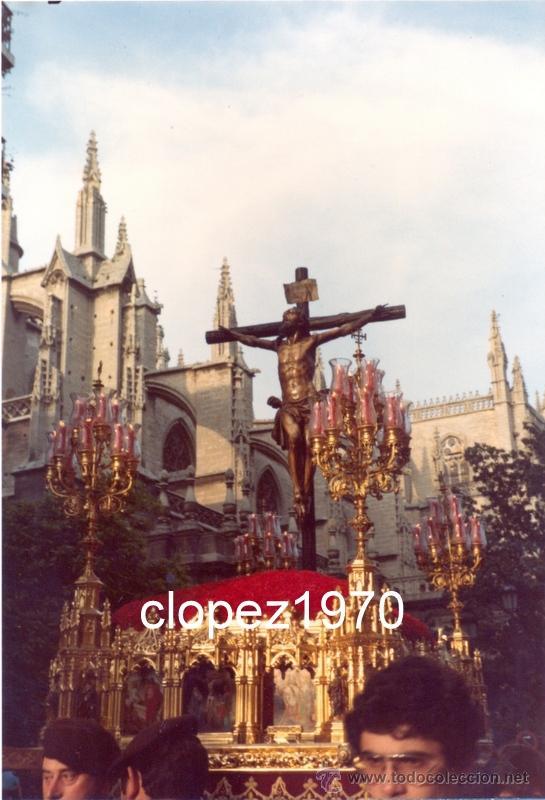SEMANA SANTA DE SEVILLA,1984, PASO DE CRISTO HERMANDAD DE SANTA CRUZ,100X150MM (Fotografía Antigua - Fotomecánica)