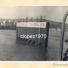 Fotografía antigua: AVILES, AÑOS 50-60, TRABAJOS CONSTRUCCION PUERTO DE ENSIDESA, MAGNIFICA,175X115MM. Lote 44963824