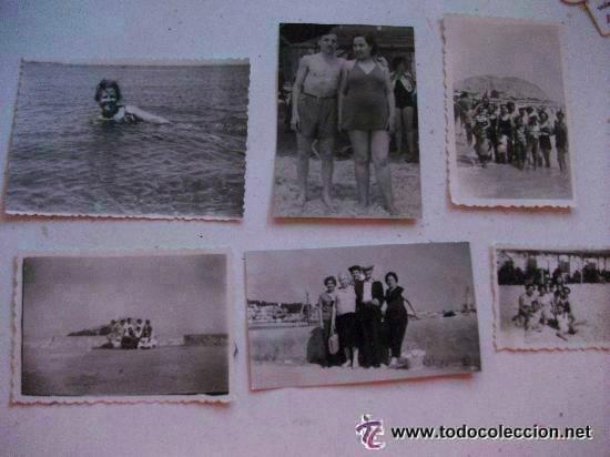 LOTE DE 6 FOTOS DE UNA MISMA FAMILIA EN LA PLAYA (Fotografía Antigua - Fotomecánica)