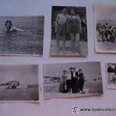 Fotografía antigua: LOTE DE 6 FOTOS DE UNA MISMA FAMILIA EN LA PLAYA . Lote 45982021