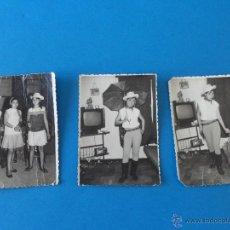 Alte Fotografie - 3 Fotografias de chicas en fiesta de disfraces - disfraz de vaquera - año 1966 - 46724465