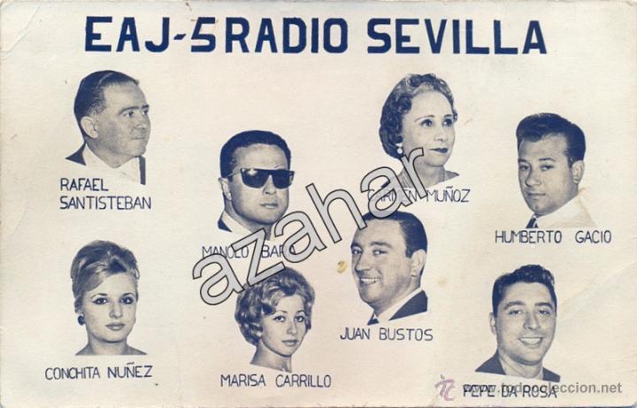 RADIO SEVILLA EAJ-5, AÑOS 60, PLANTEL DE LOCUTORES, 140X90MM (Fotografía Antigua - Fotomecánica)