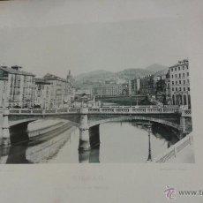 Fotografía antigua: BILBAO, PUENTE DE LA MERCED. AÑO 1891 HAUSER MENET FOTOTIPIA 21 X 15 CM. Lote 49473576