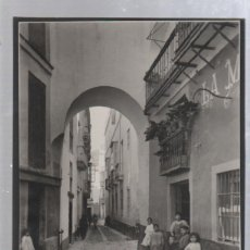 Fotografía antigua: ANTIGUA FOTOGRAFIA DE CADIZ. ARCO DE LA CATEDRAL. A LA DERECHA SE VE LA ANTIGUA MATERNIDAD. 20 X 28. Lote 49749182