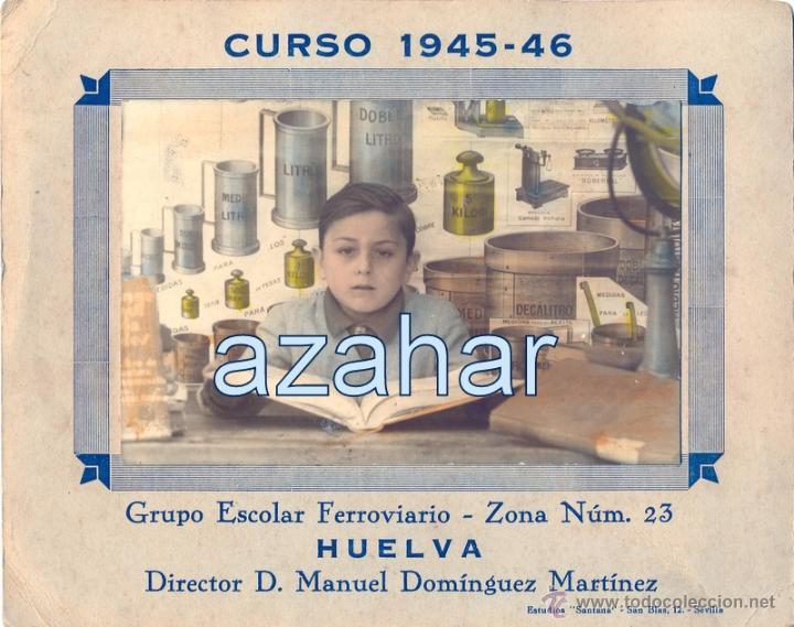 HUELVA,1946,RECUERDO COLEGIO FERROVIARIO, RARISIMA,186X150MM (Fotografía Antigua - Fotomecánica)