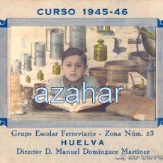 Fotografía antigua: HUELVA,1946,RECUERDO COLEGIO FERROVIARIO, RARISIMA,186X150MM. Lote 50241086