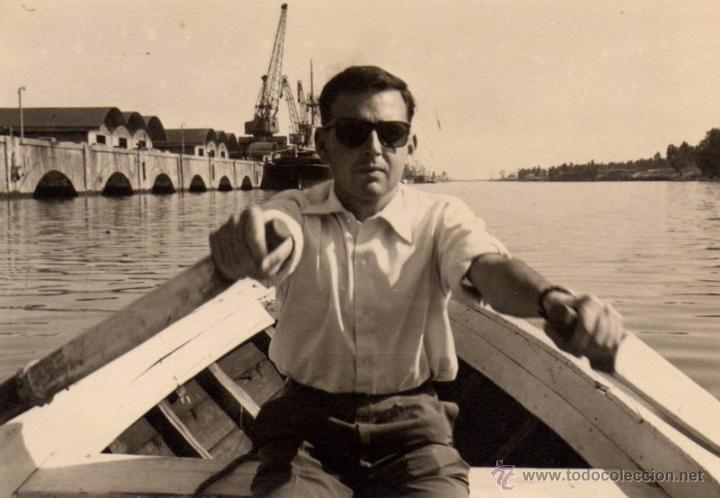ANTIGUA FOTOGRAFIA , PUERTO DE SEVILLA 1957, 95X65 MM (Fotografía Antigua - Fotomecánica)