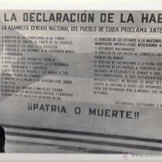 Fotografía antigua: CUBA. DECLARACIÓN DE LA HABANA. 22,3 X 29 CM. Lote 52707046