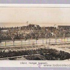 Fotografía antigua: FOTOGRAFIA DE CADIZ, PARQUE GENOVÉS CON PUBLICIDAD DE LA ÉPOCA. . Lote 54242583