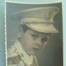 Fotografía antigua: FOTO DE ESTUDIO: NIÑO DE PRIMERA COMUNION, ALMIRANTE DE LA ARMADA CON GORRA, TOQUE DE COLOR. Lote 59592215