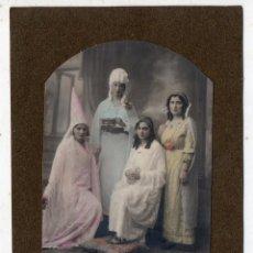 Old photograph - Fotografía Antigua. Señoritas con disfraces de Carnaval. Coloreada a mano. - 61277715
