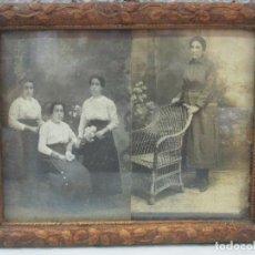 Fotografía antigua: 2 ANTIGUAS FOTOGRAFÍAS - FOTO - FOTOGRAFÍA DE ESTUDIO - CON MARCO DE ESTUCO DORADO. Lote 61515387