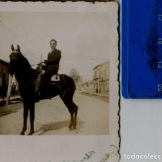 Fotografía antigua: CARTAGENA BONITA FOTO HOMBRE MONTADO A CABALLO FOTOG ABELLÁN SELLO TINTA. Lote 62004052