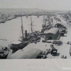 Fotografía antigua: CIRCA 1891 * SEVILLA EL MUELLE * POR HAUSER Y MENET * LAMINA 31 CM X 25 CM . Lote 62219144