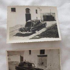 Fotografía antigua: LOTE DOS FOTOS COCHE FUNERARIA VITORIA AÑOS 40. Lote 66129882
