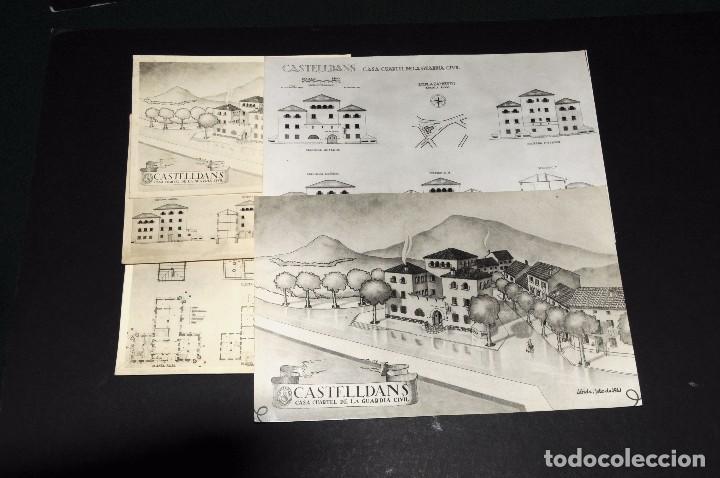 Fotografía antigua: CASTELLDANS (Lérida). Construcción Casa Cuartel Guardia Civil. Lote 12 fotos originales. Años 1940s - Foto 2 - 69406749