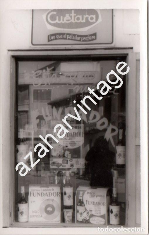 ABARAN, MURCIA, 1965, FOTOGRAFIA ESCAPARATE TIENDA DE ALIMENTACION, FUNDADOR, CUETARA,90X140MM segunda mano