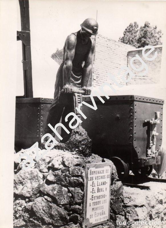 LLANO DEL BEAL, CARTAGENA, MURCIA, ANTIGUA FOTOGRAFIA MONUMENTO MINEROS, 180X240MM (Fotografía Antigua - Fotomecánica)