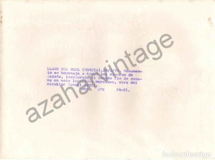 Fotografía antigua: LLANO DEL BEAL, CARTAGENA, MURCIA, ANTIGUA FOTOGRAFIA MONUMENTO MINEROS, 180X240MM - Foto 2 - 75624179