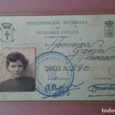 Fotografía antigua: ANTIGUO CARNET ORGANIZACION ASTURIANA INVALIDOS CIVILES. HONORINA GARCIA. SOTO ALLER ASTURIAS. 1956.. Lote 75640155