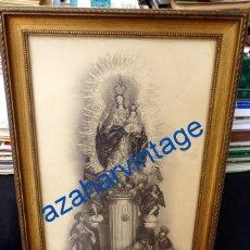 Fotografía antigua: ESPECTACULAR FOTOGRAFIA ENMARCADA DE LA VIRGEN DEL PILAR DE SEVILLA, 36X52 CMS. Lote 78066637