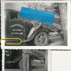 Fotografía antigua: 2-FOTOS TRANSPORTISTA LEONES AÑOS 50-60 MEDIDAS 9X6. Lote 80430953