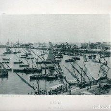 Fotografía antigua: CADIZ. EL MUELLE. 1896. NUM: 81. FOTOTIPIA DE HAUSER Y MENET.. Lote 84616848