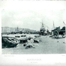 Fotografía antigua: SANTANDER. VISTA GENERAL DEL MUELLE. AÑO 1896. FOTOTIPIA DE HAUSER Y MENET. NUM: 165. Lote 84803968