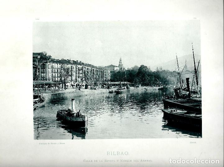 BILBAO, CALLE DE LA ESTUFA Y MUELLE DEL ARENAL. AÑO: 1895. FOTOTIPIA DE HAUSER Y MENET. NUM: 375 (Fotografía Antigua - Fotomecánica)