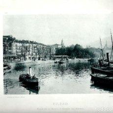 Fotografía antigua: BILBAO, CALLE DE LA ESTUFA Y MUELLE DEL ARENAL. AÑO: 1895. FOTOTIPIA DE HAUSER Y MENET. NUM: 375. Lote 84830400