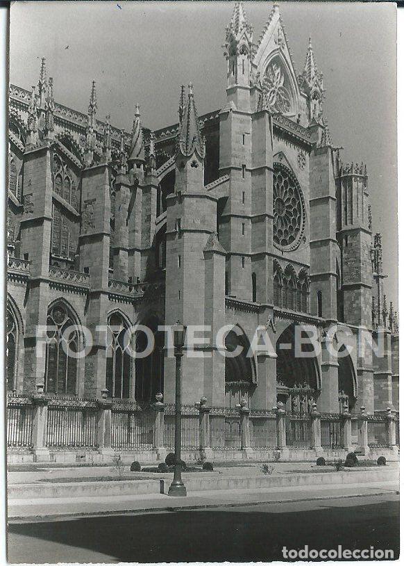FOTO ORIGINAL LEON CATEDRAL PUERTA PRINCIPAL AÑO 1964 - 10X7 CM (Fotografía Antigua - Fotomecánica)